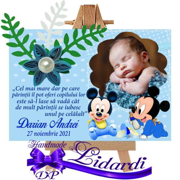 Marturii botez magneti handmade Mickey Mouse